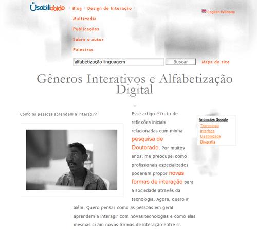 Blog Usabilidoido: Gêneros Interativos e Alfabetização Digital