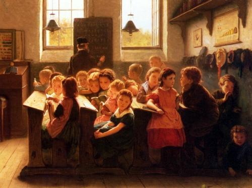 Jacob Taanmann - Quando o professor vira as costas - óleo sobre tela: 60 x 46 cm - Coleção particular