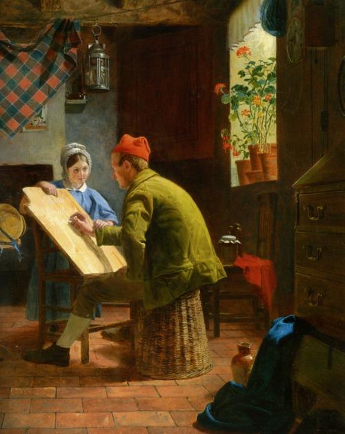 Collinson James - A lição de escrita - 1855 - Óleo sobre painel