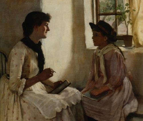 Garstin Norman: A lição matinal (The Morning Lesson) - 1882 - Óleo sobre Tela