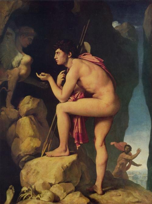 Édipo e a Esfinge - Jean Auguste Dominique Ingres (1780-1867) - Óleo sobre tela - c. 1808 - Museu do Louvre (Paris, França)
